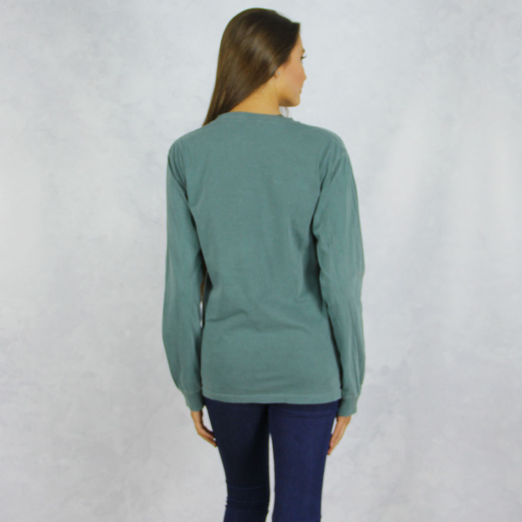 Alpha Chi Omega Colors Long Sleeve T-Shirt in Hunter Green Back