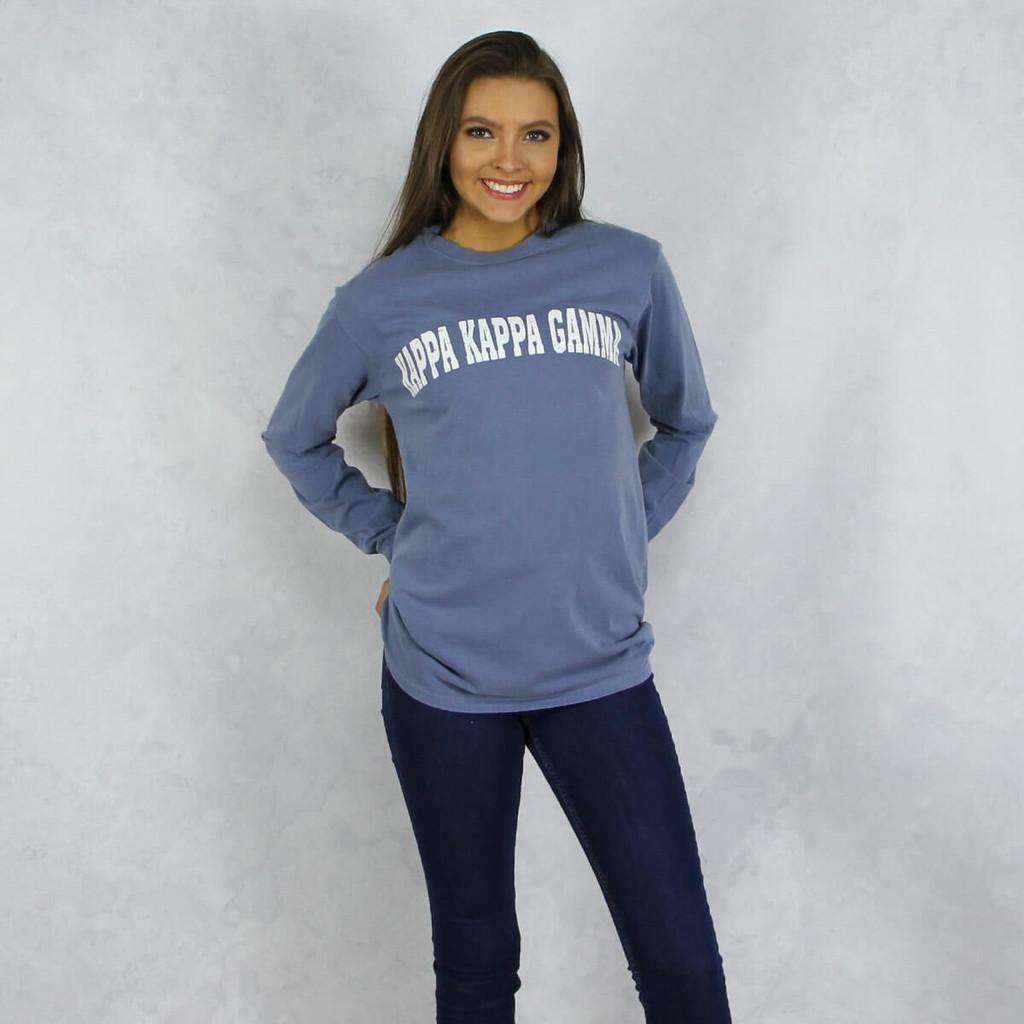 Kappa Kappa Gamma Comfort Colors Long Sleeve T-Shirt in Denim