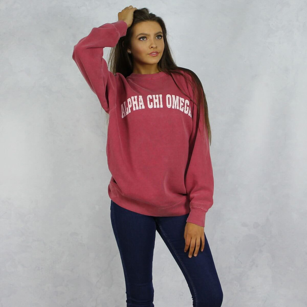 Alpha Chi Omega Comfort Colors Sweatshirt in Red