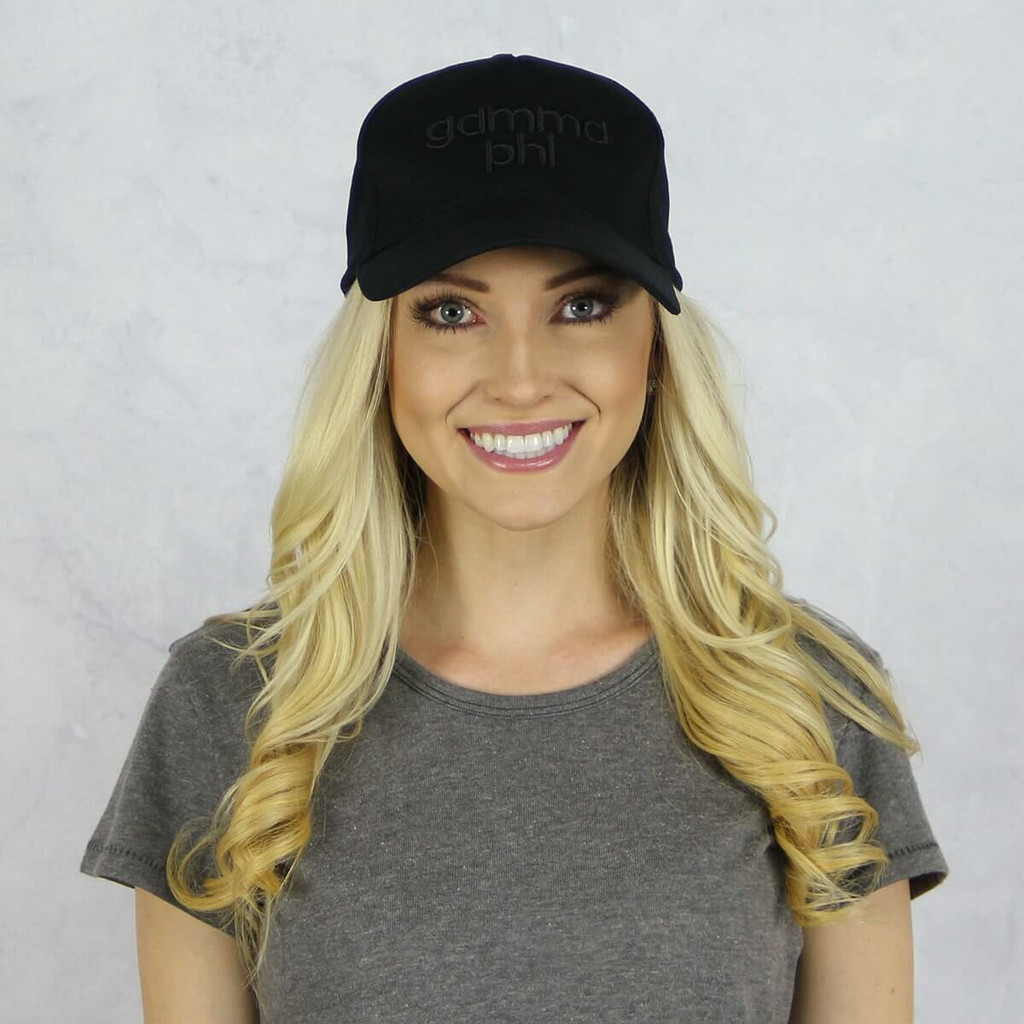Gamma Phi Beta Baseball Hat in Black on Black