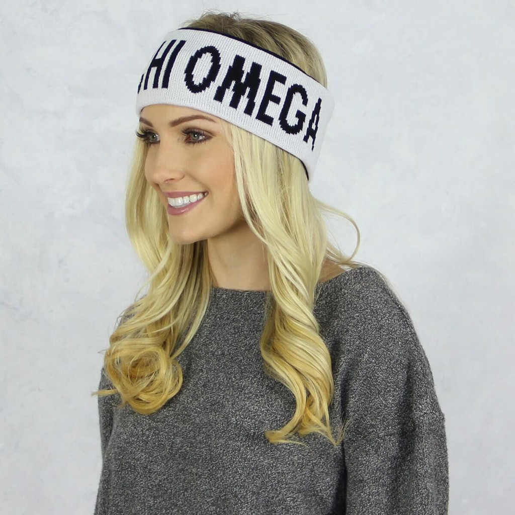 Alpha Chi Omega Reversible Headband and Ear Warmer White