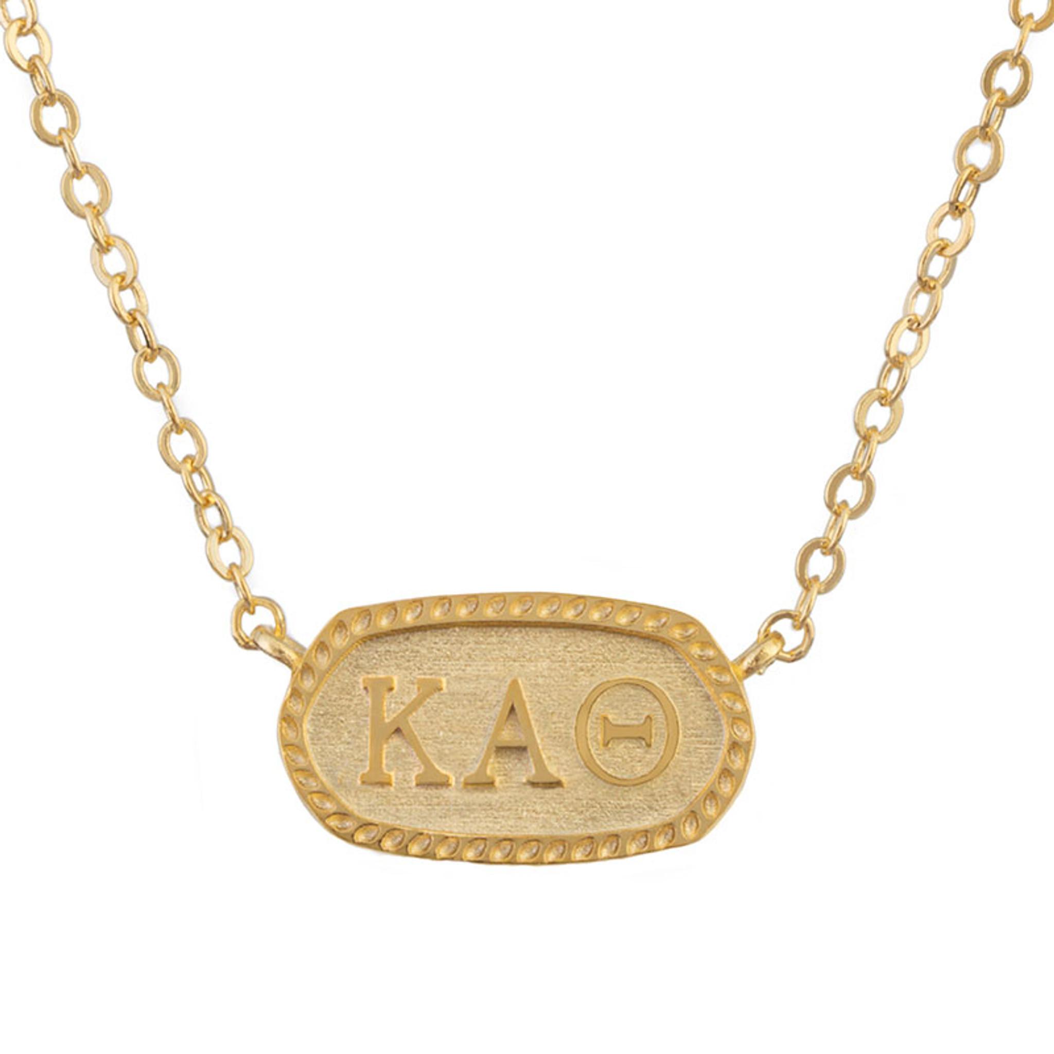 Greek Letter Before Kappa.Kappa Alpha Theta Gold Oval Necklace