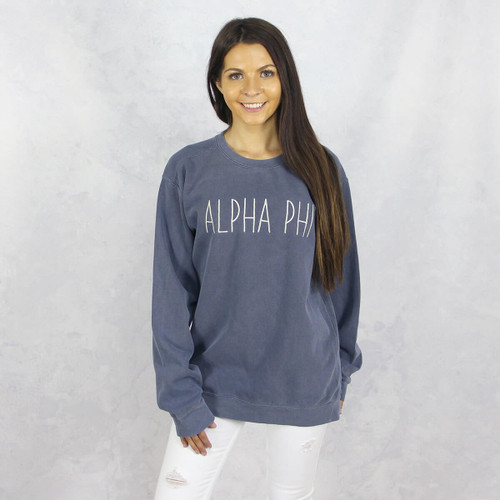Alpha Phi Comfort Colors Embroidered Sweatshirt in Blue