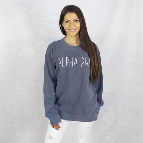 Alpha Phi Comfort Colors Embroidered Sweatshirt in Blue