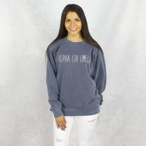 Alpha Chi Omega Embroidered Sweatshirt in Blue by Comfort Colors