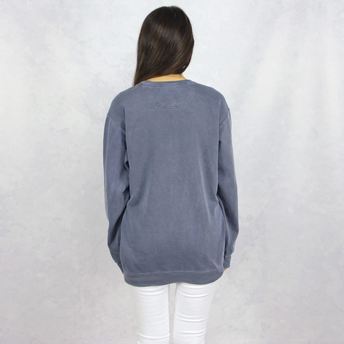 Delta Gamma Embroidered Sweatshirt in Blue by Comfort Colors  Back