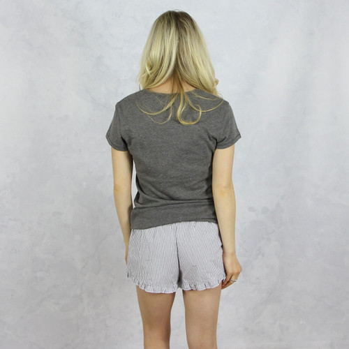 Kappa Alpha Theta Seersucker Striped Boxer Shorts in Gray Back
