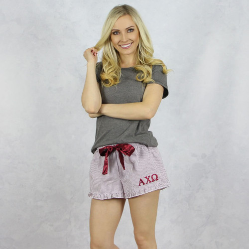 Alpha Chi Omega Seersucker Striped Boxer Shorts in Maroon