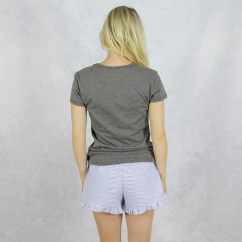 Kappa Kappa Gamma Seersucker Striped Boxer Shorts in Navy  Back