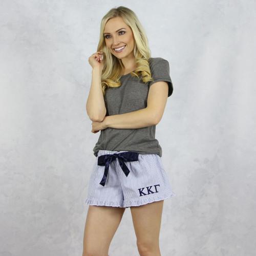 Kappa Kappa Gamma Seersucker Striped Boxer Shorts in Navy