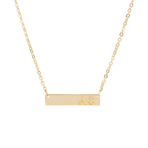 Alpha Phi Gold Bar Necklace