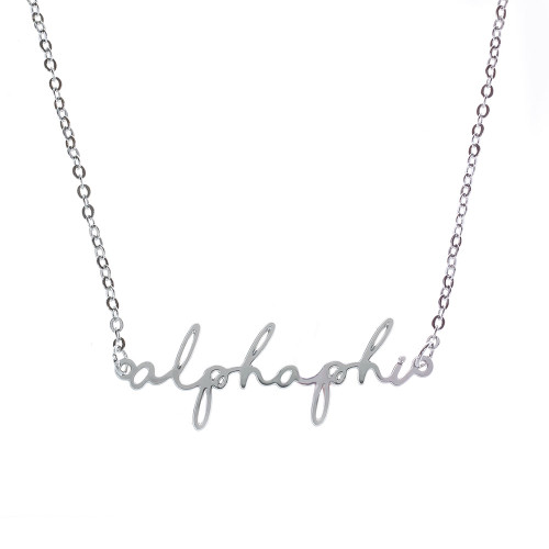 Alpha Phi Silver Script Necklace