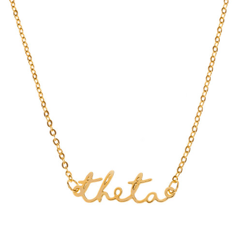 Theta Gold Script Necklace