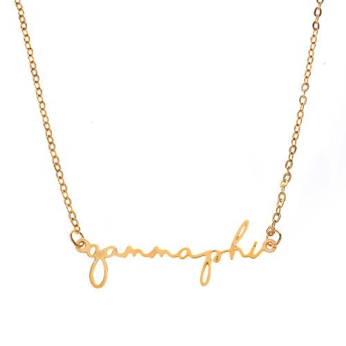 Gamma Phi Beta Gold Script Necklace