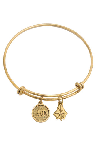 Alpha Phi Expandable Gold Plated Bracelet