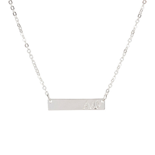 Alpha Phi Silver Bar Necklace