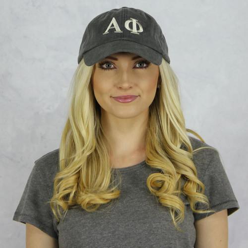 Alpha Phi Baseball Hat in Gray