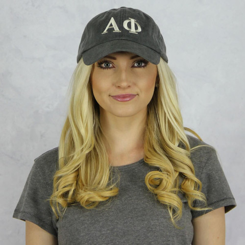 Alpha Phi Baseball Hat in Gray