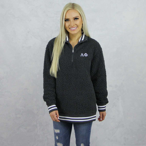 Alpha Phi Sherpa, quarter zip,  Grey