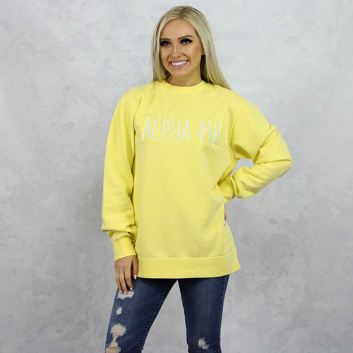 Alpha Phi Embroidered Sweatshirt in Yellow now on Alpha Phi Store.