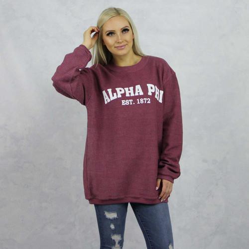Alpha Phi Maroon Corded Sweatshirt by Alpha Phi Store.