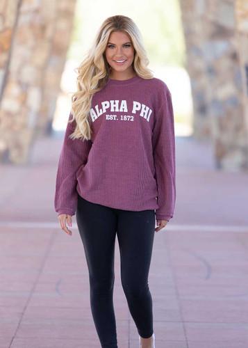 Alpha Phi Maroon Corded Sweatshirt