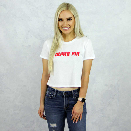 Alpha Phi Cropped Tee, Brand Bella, exclusive to Alpha Phi Store by Sorority specialties.