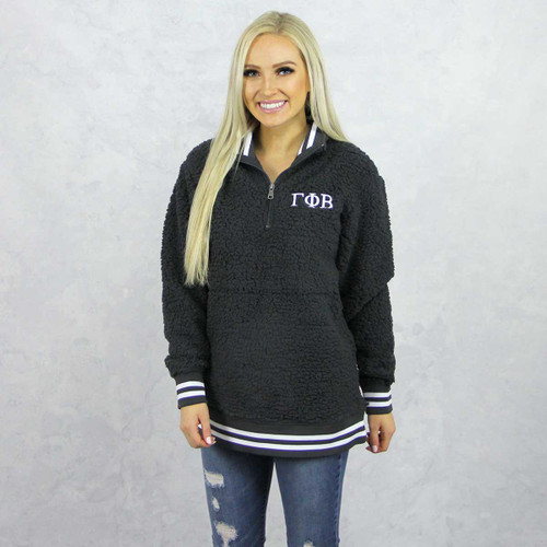 Gamma Phi Beta Sherpa, quarter zip,  Grey