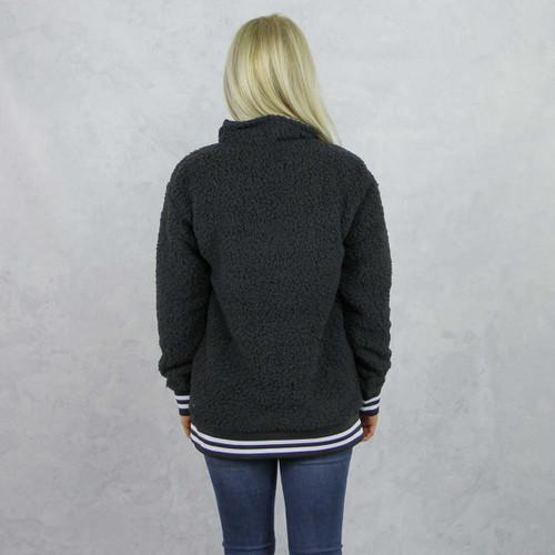 Alpha Chi Omega Sherpa, quarter zip,  Grey, Back