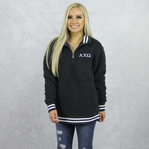 Alpha Chi Omega Sherpa, quarter zip,  Grey