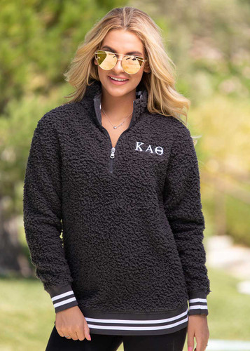 Kappa Alpha Theta Sherpa, quarter zip,  Grey Main