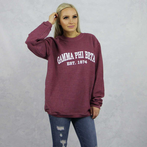 Gamma Phi Beta Maroon Corded Sweatshirt by Sorority Specialties.
