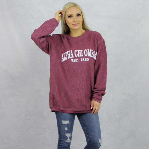 Alpha Chi Omega Maroon Corded Sweatshirt by Alpha Chi Omega Store.