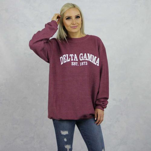 Delta Gamma Maroon Corded Sweatshirt by Delta Gamma Store.