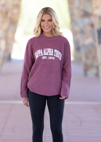 Kappa Alpha Theta Maroon Corded Sweatshirt