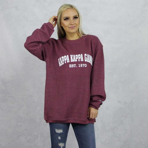 Kappa Kappa Gamma Maroon Corded Sweatshirt by Kappa Kappa Gamma Store.