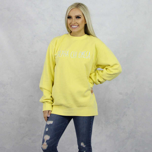 Alpha Chi Omega Embroidered Sweatshirt in Yellow now on Alpha Chi Omega Store.