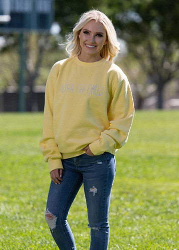 Alpha Chi Omega Embroidered Sweatshirt in Yellow