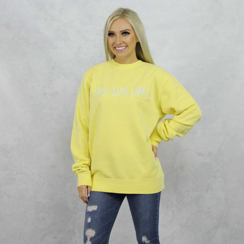Kappa Kappa Gamma Embroidered Sweatshirt in Yellow now on Kappa Kappa Gamma Store.