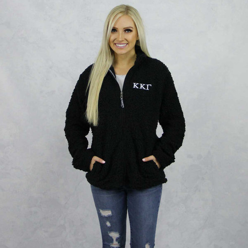 Kappa Kappa Gamma Sherpa, full zip,  Black by Sorority Specialties