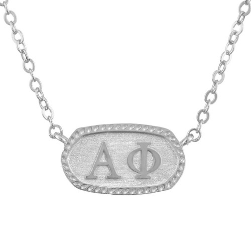Alpha Phi Silver Oval Necklace