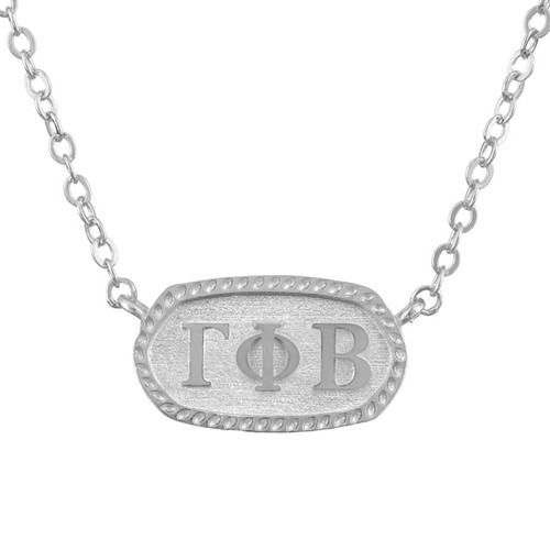 Gamma Phi Beta Silver Oval Necklace