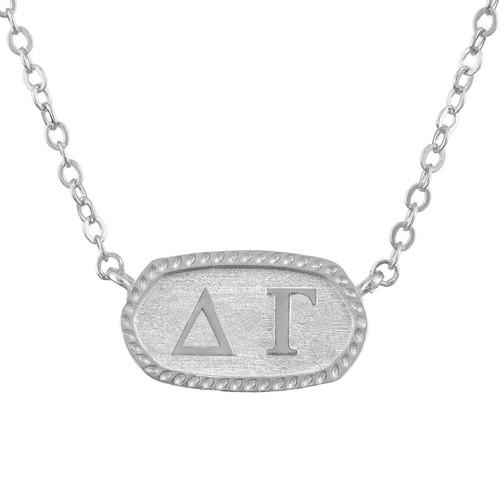 Delta Gamma Silver Oval Necklace