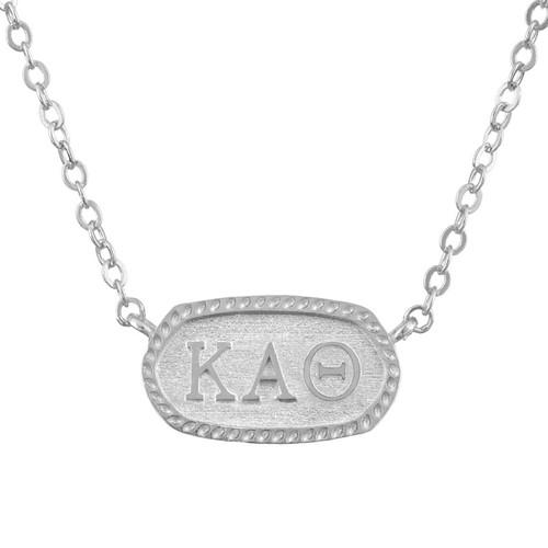 Kappa Alpha Theta Silver Oval Necklace