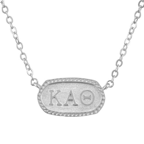 Kappa Alpha Theta Silver Oval Necklace