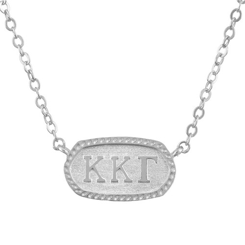 Kappa Kappa Gamma Silver Oval Necklace