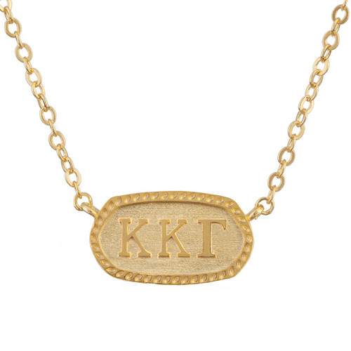 Kappa Kappa Gamma Gold Oval Necklace