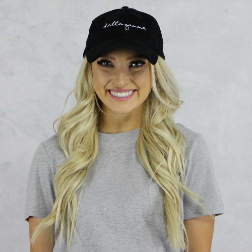 Delta Gamma Corduroy Baseball Hat in Black