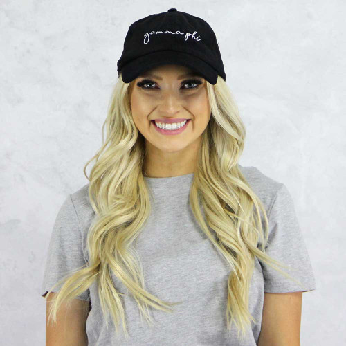 Gamma Phi Beta Baseball Hat in Black Corduroy