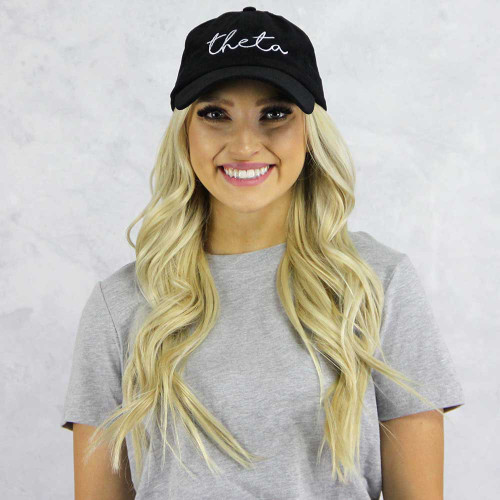 Kappa Alpha Theta Baseball Hat in Black Corduroy